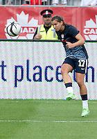 02 June 2013: U.S Women's National Soccer Team midfielder Tobin Heath #17 in action during the warm-up in an International Friendly soccer match between the U.S. Women's National Soccer Team and the Canadian Women's National Soccer Team at BMO Field in Toronto, Ontario.<br /> The U.S. Women's National Team Won 3-0.