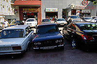 Azerbaijan, Baku. Luxury cars is a common sight in the capital, parked alongside old Lada's.
