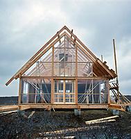 Construction of Jens Risom's Prefab House, Block Island, RI, 1967. Photographer John G. Zimmerman
