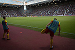 Heart of Midlothian 1 Birkirkara 2, 21/07/2016. Tynecastle Park, UEFA Europa League 2nd qualifying round. Visiting substitutes going through stretching drills at Tynecastle Park, Edinburgh as Heart of Midlothian played Birkirkara of Malta in a UEFA Europa League 2nd qualifying round, second leg. The match ended in victory for the Maltese side by 2-1 and they progressed on aggregate after the first match had ended 0-0. The game was watched by 14301 spectators, including 56 visiting fans of Birkirkara. Photo by Colin McPherson.