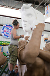 An artist at Blaine Kern's Mardi Gras World in New Orleans, Louisiana, works on a float.  Most floats paraded through the city during the annual Mardi Gras festival are designed and made at Blaine Kern's Mardi Gras World.  In fact, the studio's work is displayed in parades, theme parks, casinos, and amusement parks across the world, including Japan's Toho Park, Philadelphia's Thanksgiving Day Parade, Universal Studios Florida and parades in Antibes.