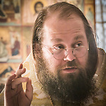 Archimandrite Irinei speaks during the First Monastic Liturgy, St. Silhouan Monastery, Columbia, California.
