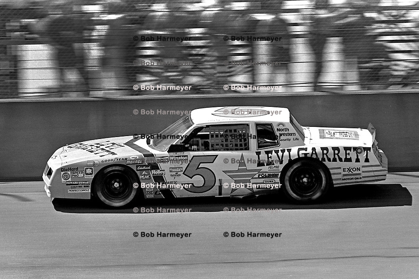 BROOKLYN, MI - AUGUST 11: Geoff Bodine drives the Rick Hendrick Chevrolet during the Champion Spark Plug 400 NASCAR Winston Cup race at the Michigan International Speedway near Brooklyn, Michigan, on August 11, 1985.
