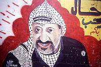Old Gaza strip, dipinto murale raffigurante Arafat