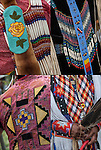 Close up of Native American Pow Wow Regalia. These examples show  ethnic pride, heritage and traditional folk art crafts.<br />