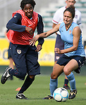 25 April 2008: Briana Scurry (l) and Stephanie Lopez Cox (r). The United States Women's National Team held a training session in WakeMed Stadium, formerly SAS Stadium, in Cary, NC.