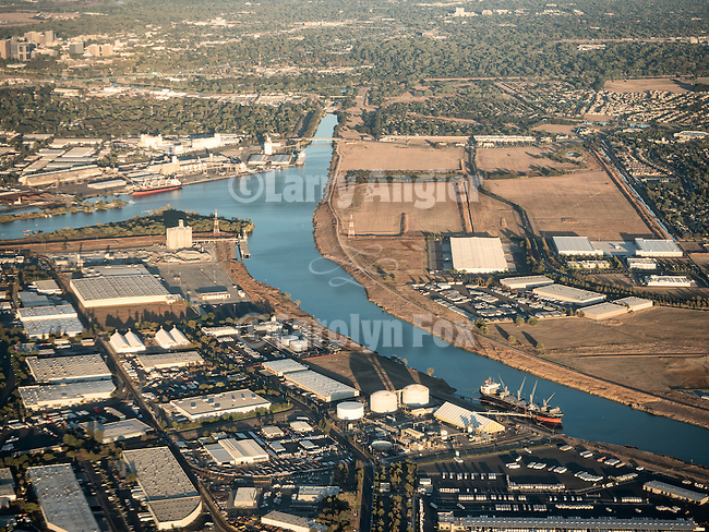 Port of Sacramento in West Sacramento, Yolo County from a window seat above  on final approach to Sacramento International Airport, Calif.