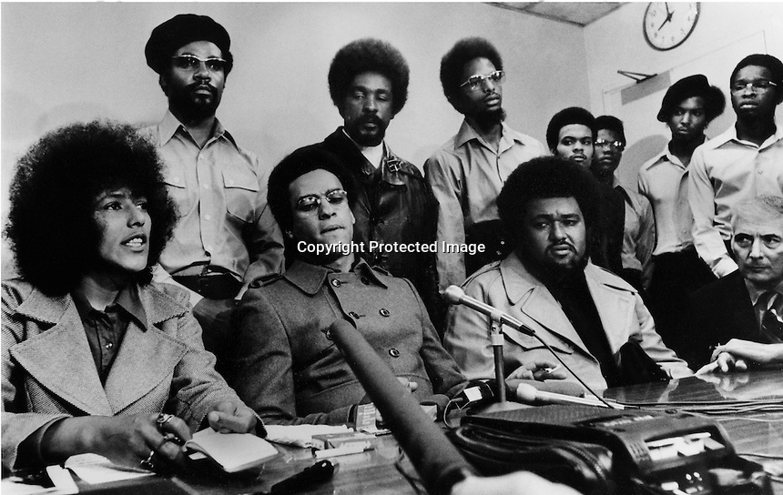 Black Panther press conference: (front row L-R)Elaine Brown, Huey Newton, Robert Bay, and attorney Charles Gary. (1971 photo/Ron Riesterer)
