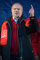 Moscow, Russia, 07/11/2010..Party leader Gennady Zyuganov addresses members and supporters of the Russian Communist Party demonstrate to celebrate the 83rd anniversary of the October 1917 Bolshevik revolution. Russia no longer officially celebrates the anniversary of the 1917 Revolution that brought Vladimir Lenin to power and established communist rule in Russia and the Soviet Union over seven decades.