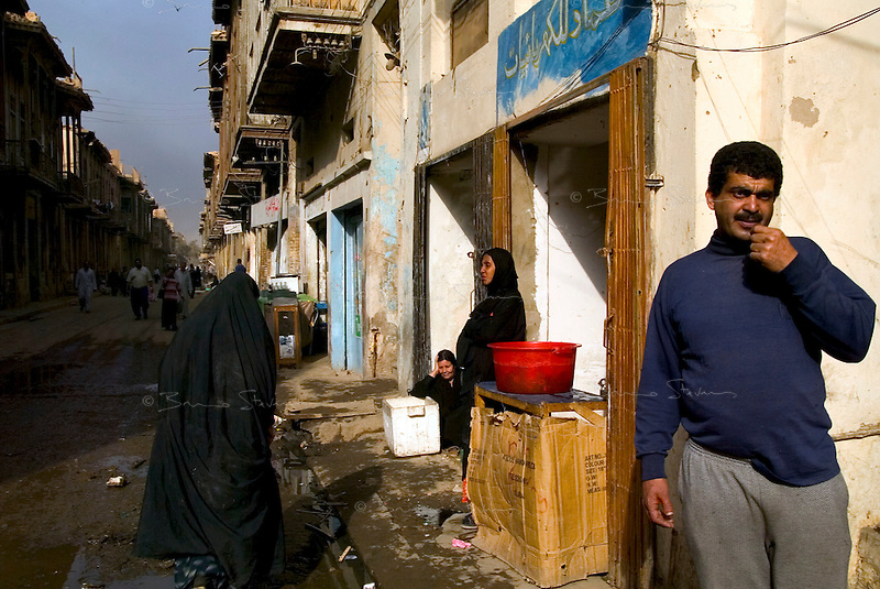 Baghdad, Iraq, April 3, 2003.Iinhabitants in a popular quarter of central Baghdad during a US air raid. Life goes on almost as usual...