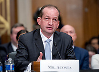 R. Alexander Acosta, Dean of Florida International University College of Law and United States President Donald J. Trump's nominee for US Secretary of Labor, testifies during his confirmation hearing before the US Senate Committee on Health, Education, Labor &amp; Pensions on Capitol Hill in Washington, DC on Wednesday, March 22, 2017.<br /> Credit: Ron Sachs / CNP /MediaPunch