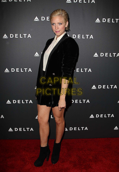 Brittany Snow.Delta Air Lines, the Official Airline of the GRAMMY Awards,celebrate LA's music industry Held At The Getty House, Los Angeles, California, USA, .7th February 2013..full length white shirt black jacket blazer velvet tuxedo tux  skirt ankle boots .CAP/ADM/KB.©Kevan Brooks/AdMedia/Capital Pictures.