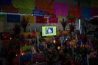 A Mexican memorial is seen during the anniversary of Day of the Dead in the Manhattan neighborhood, New York. 25.06.2015. Eduardo MunozAlvarez/VIEWpress.