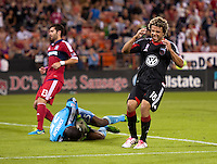 Nick DeLeon (18) of D.C. United reacts to a missed chance on goal during a Major League Soccer game at RFK Stadium in Washington, DC.  The Chicago Fire defeated D.C. United, 3-0.