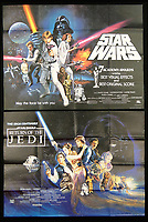 BNPS.co.uk (01202 558833)<br /> Pic: Burstow&amp;Hewett/BNPS<br /> <br /> Star Wars Academy Awards print poster and Return of the Jedi poster.<br /> <br /> A late film buff's collection of 400 vintage movie posters has emerged for auction and is tipped to sell for &pound;15,000.<br /> <br /> The collection was amassed by a man who worked for several decades at the Marble Arch Odeon cinema in London which in its heyday was one of the capital's flagship cinemas.<br /> <br /> He sadly died a couple of years ago but bestowed the posters - which once were on display in the cinema - to a life-long friend who has decided to put them on the market.<br /> <br /> Many of the posters are from classic film franchises including Star Wars and James Bond as well as iconic Disney films such as Snow White and the Seven Dwarfs and Cinderella.