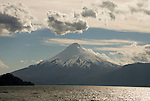 Chile, Lake Country: View of Osorno Volcano while riding across Lake Todos Los Santos..Photo #: ch633-33961..Photo copyright Lee Foster www.fostertravel.com, lee@fostertravel.com, 510-549-2202.