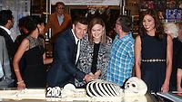 CENTURY CITY, CA, USA - NOVEMBER 14: Tamara Taylor, David Boreanaz, Emily Deschanel pose at FOX's 'Bones' 200th Episode Celebration With The Cast And Producers held at the Fox Studio Lot on November 14, 2014 in Century City, California, United States. (Photo by David Acosta/Celebrity Monitor)