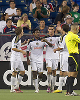 Philadelphia Union defender Sheanon Williams (25) celebrates his goal with teammates. In a Major League Soccer (MLS) match, the Philadelphia Union defeated the New England Revolution, 3-0, at Gillette Stadium on July 17, 2011.