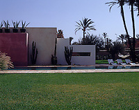 The swimming pool is shielded by a series of pigmented walls that accentuate the shapes of the cacti