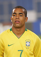 Brazil's Alex Teixeira (7) stands on the pitch before the game against Costa Rica during the FIFA Under 20 World Cup Semi-final match at the Cairo International Stadium in Cairo, Egypt, on October 13, 2009. Brazil won the match  1-0.