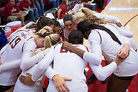 STANFORD, CA - August 28, 2016: Huddle at Maples Pavilion. The Stanford Cardinal defeated the University of Minnesota 3-1.