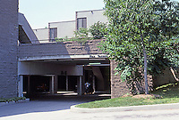 Moshe Safdie Assoc.: Coldspring New Town--garages around periphery. Photo '85.