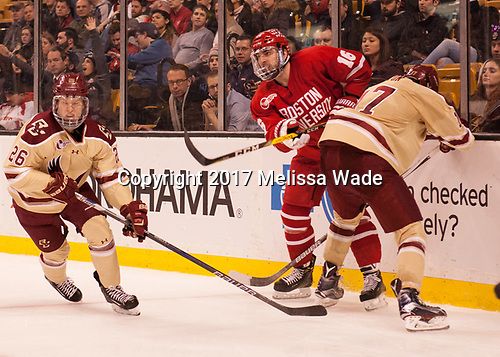 Julius Mattila (BC - 26), John MacLeod (BU - 16), David Cotton (BC - 17) - The Boston University Terriers defeated the Boston College Eagles 3-1 in their opening Beanpot game on Monday, February 6, 2017, at TD Garden in Boston, Massachusetts.