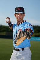 Hickory Crawdads shortstop Anderson Tejeda (1) poses for a photo Kannapolis Intimidators at Kannapolis Intimidators Stadium on May 18, 2017 in Kannapolis, North Carolina.  The Crawdads defeated the Intimidators 6-4.  (Brian Westerholt/Four Seam Images)