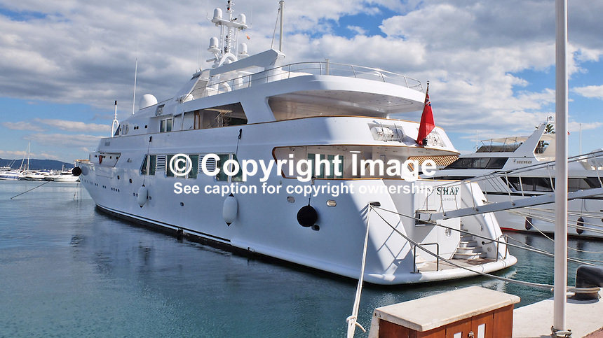 Shaf, luxury yacht, registered in UK, owned by the new Saudi Arabia king, King Salman, at its moorings in Puerto Banus, Spain. King Salman has been a frequent visitor to the Costa del Sol over many years. 201502060394 <br /> <br /> Copyright Image from Victor Patterson, 54 Dorchester Park, Belfast, UK, BT9 6RJ<br /> <br /> t: +44 28 9066 1296<br /> m: +44 7802 353836<br /> vm +44 20 8816 7153<br /> <br /> e1: victorpatterson@me.com<br /> e2: victorpatterson@gmail.com<br /> <br /> www.victorpatterson.com<br /> <br /> IMPORTANT: Please see my Terms and Conditions of Use at www.victorpatterson.com