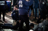 A Protester affiliated with the Occupy Wall Street movement Is arrested by the Police as he take part in a protest called Occupy 2.0 as they marking the 3th Month aniversary in New York, United States. 02/12/2011.  Photo by Kena Betancur / VIEWpress.