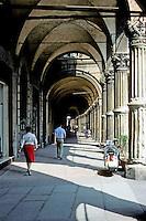 Italy: Bologna--Arcade, Piazza Santo Stefano. Photo '83.