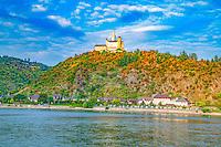 Marksburg Castle at dawn ,   Rhine River, Germany , Rhineland Region. 13th Century Castle Upper Middle Rhine Valley UNESCO World Heritage Site