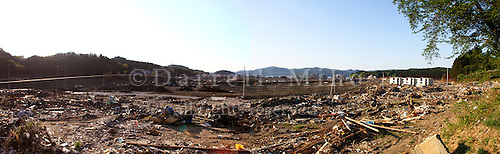 May 18, 2011; Minamisanriku, Miyagi Pref., Japan - Two photos stitched together show the devastation in Minamisanriku after the March 11, 2011 Great Tohoku Earthquake and Tsunami devastated the Northeast coast of Japan.