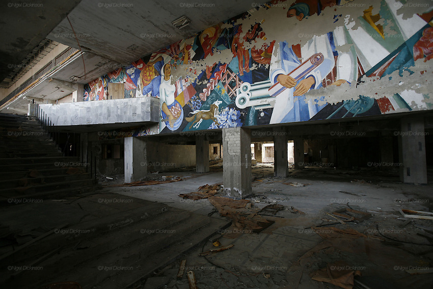Chernobyl, Exclusion Zone, Ukraine. Theatre. Pripyat Town built 15 years before the Chernobyl reactor fire. The whole town was evacuated shortly after. The  Chernobyl Reactor, towns, plant and environs just before the 20th anniversary of the nuclear disaster.