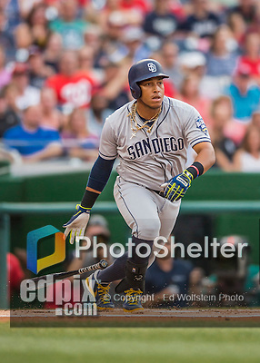 22 July 2016: San Diego Padres infielder Yangervis Solarte in action against the Washington Nationals at Nationals Park in Washington, DC. The Padres defeated the Nationals 5-3 to take the first game of their 3-game, weekend series. Mandatory Credit: Ed Wolfstein Photo *** RAW (NEF) Image File Available ***