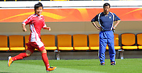 Kwang Min Kim, Coach of North Korea, during a training session at the FIFA Women's World Cup at the FIFA Stadium in Dresden, Germany on June 27th, 2011.
