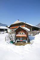 A traditional covered <br /> apiary in Val <br /> d'Abondance, french Alps, <br /> protects the hives <br /> from bad weather.