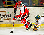 3 January 2009: St. Lawrence Saints' forward Corey Carlson, a Senior from Two Harbors, MN, in action against the University of Vermont Catamounts during the championship game of the Catamount Cup Ice Hockey Tournament at Gutterson Fieldhouse in Burlington, Vermont. The Cats defeated the Saints 4-0 and won the tournament for the second time since its inception in 2005...Mandatory Photo Credit: Ed Wolfstein Photo