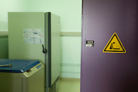 View of a sign at Dr. Thierry Heidmann's cancer research department at the Institut Gustave Roussy in Villejuif, France, 6 May 2008.