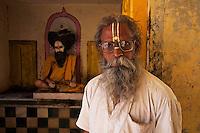 Hindu priest at the Rameshwar Village and Hindu Temple 15 km from Varanasi, India