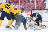 Quinn Gould (Merrimack - 10), Hampus Gustafsson (Merrimack - 20), Jordan Heywood (Merrimack - 4), Joe Pantalone (Merrimack - 29) -  - The participating teams in Hockey East's first doubleheader during Frozen Fenway practiced on January 3, 2014 at Fenway Park in Boston, Massachusetts.