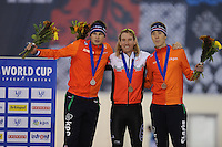 SPEED SKATING: SALT LAKE CITY: 21-11-2015, Utah Olympic Oval, ISU World Cup, Podium 10.000m Men, Sven Kramer (NED), Ted-Jan Bloemen (CAN), Jorrit Bergsma (NED), ©foto Martin de Jong