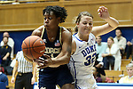 06 December 2012: Georgia Tech's Dawnn Maye (1) and Duke's Tricia Liston (32). The Duke University Blue Devils played the Georgia Tech University Yellow Jackets at Cameron Indoor Stadium in Durham, North Carolina in an NCAA Division I Women's Basketball game. Duke won the game 85-52.