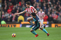 Stoke City's Ramadan Sobhi battles with Middlesbrough's Fabio<br /> <br /> Photographer Mick Walker/CameraSport<br /> <br /> The Premier League - Stoke City v Middlesbrough - Saturday 4th March 2017 - bet365 Stadium - Stoke-on-Trent<br /> <br /> World Copyright &copy; 2017 CameraSport. All rights reserved. 43 Linden Ave. Countesthorpe. Leicester. England. LE8 5PG - Tel: +44 (0) 116 277 4147 - admin@camerasport.com - www.camerasport.com
