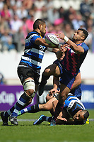 (R-L) Will Genia of Stade Francais and Taulupe Faletau of Bath during the European Challenge Cup semi final between Stade Francais and Bath on April 23, 2017 in Paris, France. ( Photo by Andre Ferreira / Icon Sport )