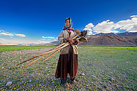 Taken in the village Korzok, situated on the bank of lake Tso Moriri in Ladakh, while this lady was going back to her home after working for some time in the fields...<br />