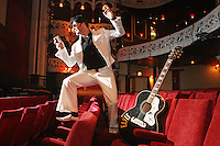 "NO REPRO FEE. 11/8/2010. Elvis Presley Story. Irelands foremost Elvis performer Kevin Doyle is pictured in his Elvis costume rehearsing in the Olympia Theatre in preparation for his show "" Kevin Doyle Sings the Elvis Presley Story"" this Sunday the 15th of August. Tickets are from 25.50 including booking fee on sale now. Picture James Horan/Collins Photos"