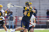 College Park, MD - April 1, 2017: Michigan Wolverines Decker Curran attempts a shot during game between Michigan and Maryland at  Capital One Field at Maryland Stadium in College Park, MD.  (Photo by Elliott Brown/Media Images International)