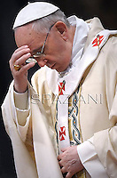 Pope Francis during a priests ordination ceremony in St Peter's Basilica at the Vatican.  on April 21, 2013