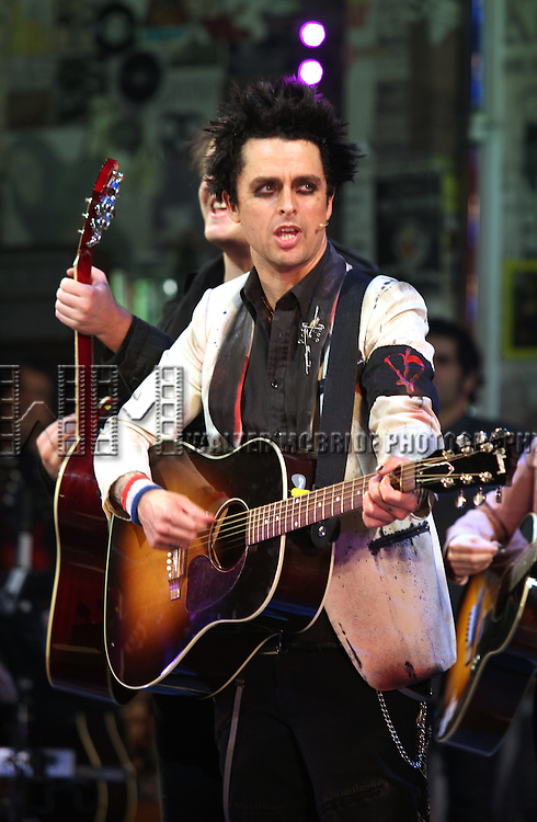 """Billie Joe Armstrong during the curtain call as he makes his Broadway Debut As """"St. Jimmy"""" in """"American Idiot"""" at the St. James Theatre in New York City.  September 28, 2010.© Walter McBride / .."""